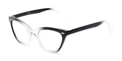 Angle of The Laura in Black/Clear Fade, Women's Cat Eye Reading Glasses