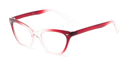 Angle of The Laura in Red/Clear Fade, Women's Cat Eye Reading Glasses
