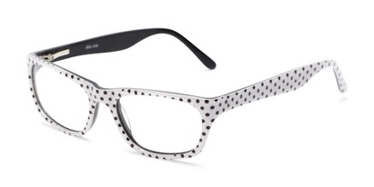 Angle of Laurel by felix + iris in White Dot, Women's Rectangle Reading Glasses