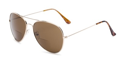 Angle of The Legacy Bifocal Reading Sunglasses in Gold with Amber, Women's and Men's Aviator Reading Sunglasses