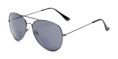 Angle of The Legacy Bifocal Reading Sunglasses in Grey with Smoke, Women's and Men's Aviator Reading Sunglasses