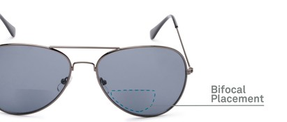 Detail of The Legacy Bifocal Reading Sunglasses in Grey with Smoke