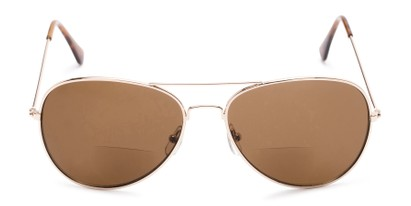 Front of The Legacy Bifocal Reading Sunglasses in Gold with Amber