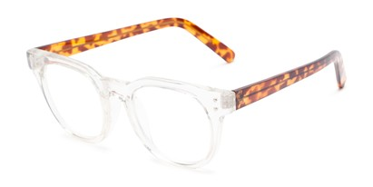 Angle of The Lemon in Clear/Tortoise, Women's and Men's Round Reading Glasses