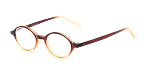 Angle of The Lennon in Brown/Yellow Fade, Women's and Men's Round Reading Glasses
