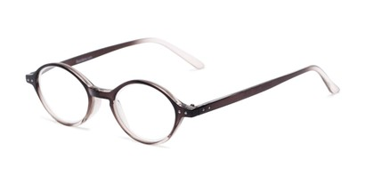 Angle of The Lennon in Clear/Grey Fade, Women's and Men's Round Reading Glasses