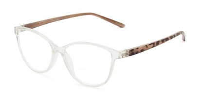 Angle of The Lenora Bifocal in Clear/Tortoise, Women's Cat Eye Reading Glasses