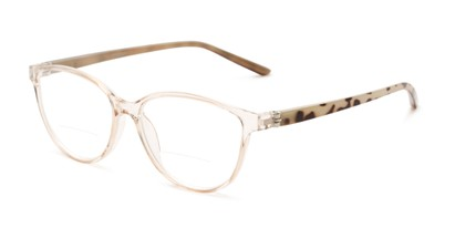 Angle of The Lenora Bifocal in Clear Brown/Tortoise, Women's Cat Eye Reading Glasses