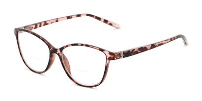 Angle of The Lenora Bifocal in Pink Tortoise, Women's Cat Eye Reading Glasses