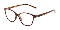 Angle of The Lenora Bifocal in Brown Tortoise, Women's Cat Eye Reading Glasses