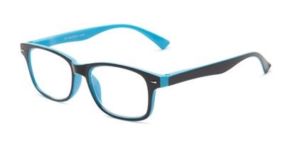 Angle of The Leopold in Blue and black, Women's and Men's Retro Square Reading Glasses