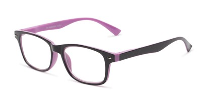 Angle of The Leopold in Purple and Black, Women's and Men's Retro Square Reading Glasses