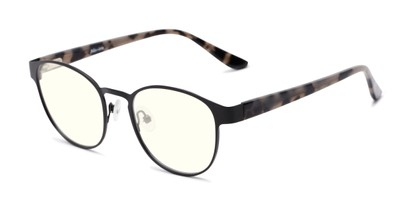 Angle of The Libertine Blue Light Blocking Reader in Black/Tan Tortoise, Women's and Men's Round Reading Glasses