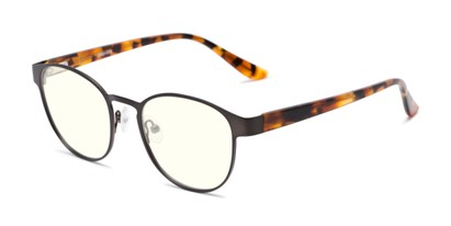 Angle of The Libertine Blue Light Blocking Reader in Grey/Brown Tortoise, Women's and Men's Round Reading Glasses