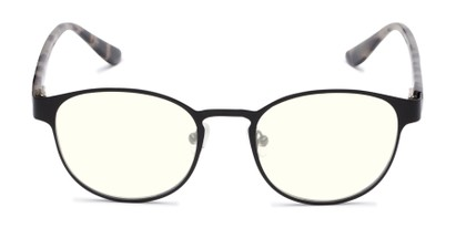 Front of The Libertine Blue Light Blocking Reader in Black/Tan Tortoise