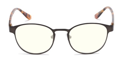 Front of The Libertine Blue Light Blocking Reader in Grey/Brown Tortoise