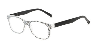 Angle of The Librarian in Herringbone/Black, Women's and Men's Retro Square Reading Glasses