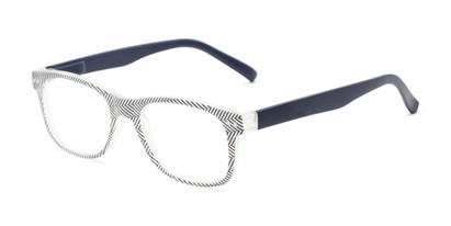 Angle of The Librarian in Herringbone/Navy Blue, Women's and Men's Retro Square Reading Glasses