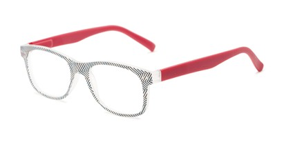 Angle of The Librarian in Herringbone/Berry Pink, Women's and Men's Retro Square Reading Glasses