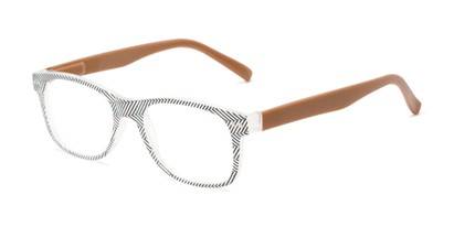 Angle of The Librarian in Herringbone/Brown, Women's and Men's Retro Square Reading Glasses