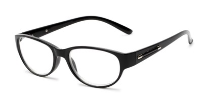 Angle of The Lillian in Black, Women's Oval Reading Glasses