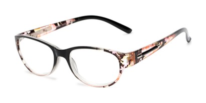 Angle of The Lillian in Black Floral, Women's Oval Reading Glasses