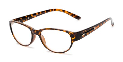 Angle of The Lillian in Tortoise, Women's Oval Reading Glasses
