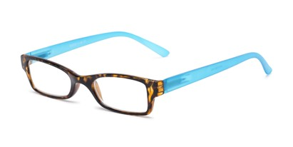 Angle of The Lime in Tortoise/Blue, Women's and Men's Rectangle Reading Glasses