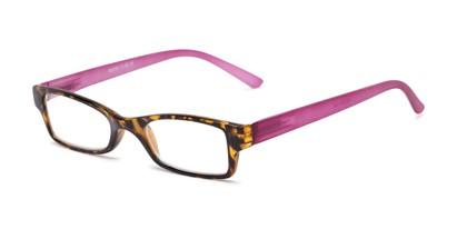 Angle of The Lime in Tortoise/Pink, Women's and Men's Rectangle Reading Glasses