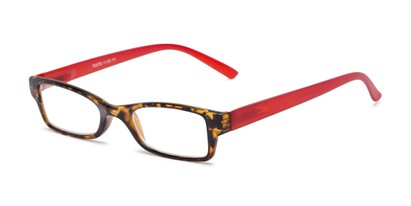 Angle of The Lime in Tortoise/Red, Women's and Men's Rectangle Reading Glasses