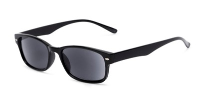 Angle of The Liverpool Reading Sunglasses in Black with Smoke, Women's and Men's Retro Square Reading Sunglasses