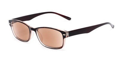 Angle of The Liverpool Reading Sunglasses in Brown with Amber, Women's and Men's Retro Square Reading Sunglasses