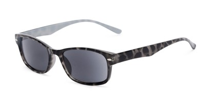 Angle of The Liverpool Reading Sunglasses in Grey Tortoise with Smoke, Women's and Men's Retro Square Reading Sunglasses