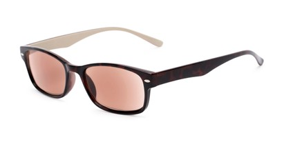 Angle of The Liverpool Reading Sunglasses in Tortoise with Amber, Women's and Men's Retro Square Reading Sunglasses