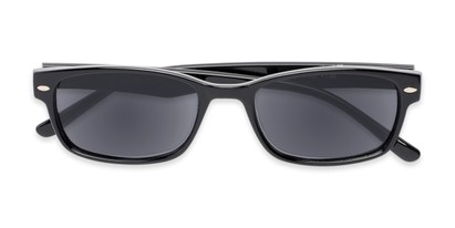Folded of The Liverpool Reading Sunglasses in Black with Smoke