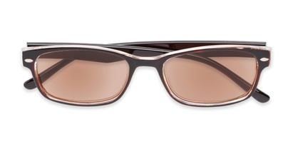 Folded of The Liverpool Reading Sunglasses in Brown with Amber