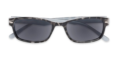 Folded of The Liverpool Reading Sunglasses in Grey Tortoise with Smoke