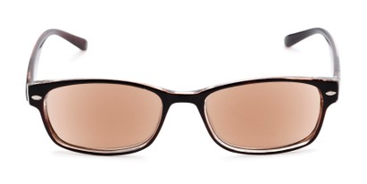 Front of The Liverpool Reading Sunglasses in Brown with Amber