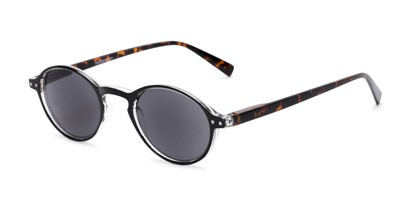 Angle of The Loft Reading Sunglasses in Black/Tortoise with Smoke, Women's and Men's Round Reading Sunglasses