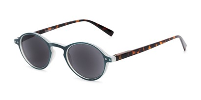 Angle of The Loft Reading Sunglasses in Blue/Tortoise with Smoke, Women's and Men's Round Reading Sunglasses
