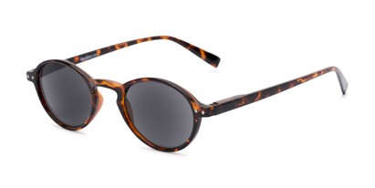 Angle of The Loft Reading Sunglasses in Tortoise with Smoke, Women's and Men's Round Reading Sunglasses