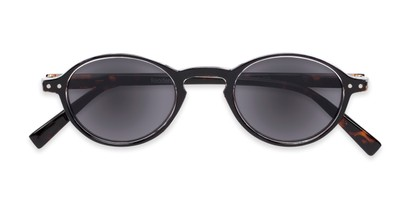 Folded of The Loft Reading Sunglasses in Black/Tortoise with Smoke