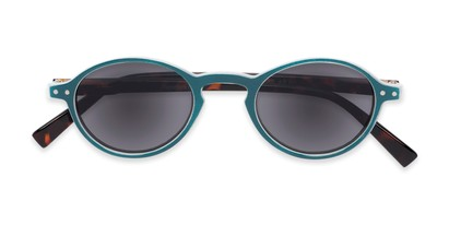 Folded of The Loft Reading Sunglasses in Blue/Tortoise with Smoke