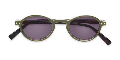 Folded of The Loft Reading Sunglasses in Green/Tortoise with Smoke