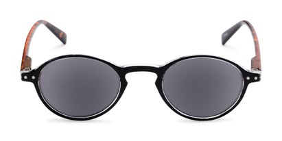 Front of The Loft Reading Sunglasses in Black/Tortoise with Smoke