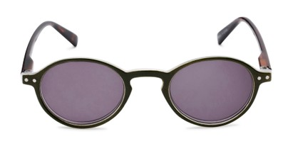 Front of The Loft Reading Sunglasses in Green/Tortoise with Smoke