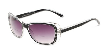 Angle of The Lorina Bifocal Reading Sunglasses in Black/Clear with Smoke, Women's Square Reading Sunglasses