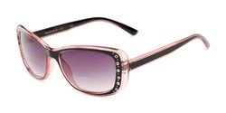 Angle of The Lorina Bifocal Reading Sunglasses in Black/Pink with Smoke, Women's Square Reading Sunglasses