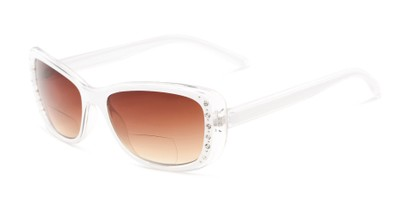 Angle of The Lorina Bifocal Reading Sunglasses in White/Clear with Amber, Women's Square Reading Sunglasses