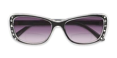 Folded of The Lorina Bifocal Reading Sunglasses in Black/Clear with Smoke